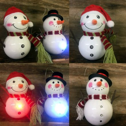 Flashing LED Mr & Mrs Snowman Christmas Tree Hanging Decoration